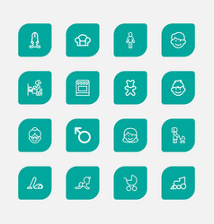 set of 16 editable kin outline icons includes vector image vector image