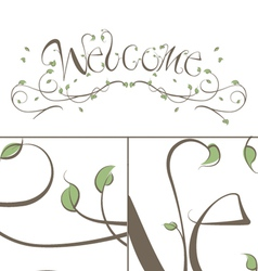 Welcome Floral Vines Lettering vector image vector image