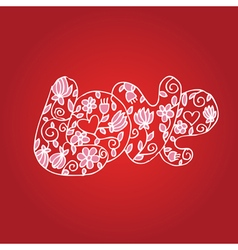 word love with flowers on valentines day vector image