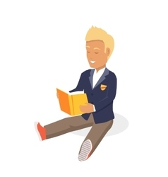 Young Black Haired Man Enjoying Reading Big Book vector image vector image