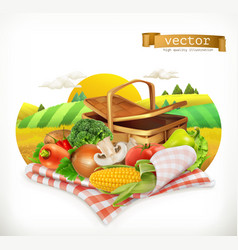 farm and harvest realistic vegetables corn tomato vector image vector image