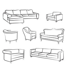 Furniture set interior room furnishing bed sofa vector