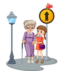 Grandmother and kid crossing the street vector