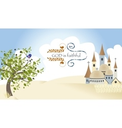 Israel god triad worship jerusalem castle vector
