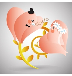 Two doves with lover letter vector image