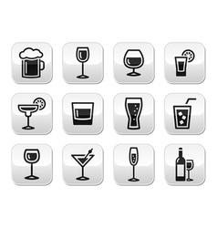 Drink alcohol beverage buttons set vector image