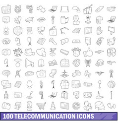 100 telecommunication icons set outline style vector