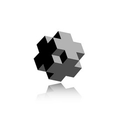 3d necker cube cross icon isometric logo design vector image