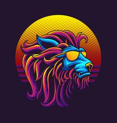 80s lion head vector image
