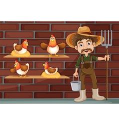 A farmer beside the four hens vector image
