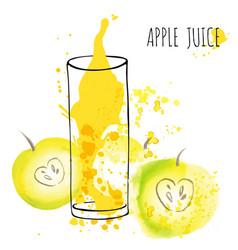 Apple juice splash watercolor vector