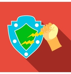 Arm and protective shield icon flat style vector image