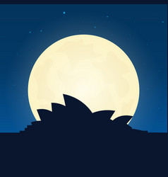 australia silhouette of attraction travel banner vector image