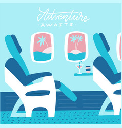 Banner with airplane seats in business class vector