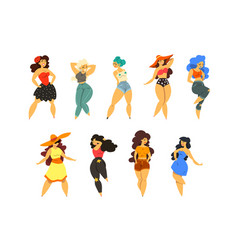beautiful curvy overweight girls set plus size vector image
