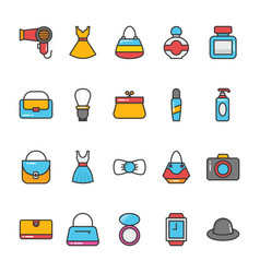 beauty and fashion colored icons set 5 vector image