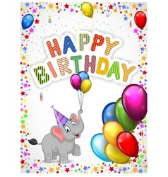 Birthday cartoon with happy elephant vector image