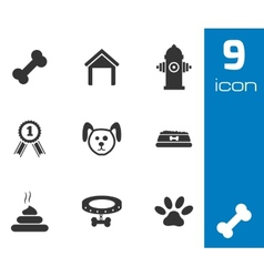 black dog icons set vector image