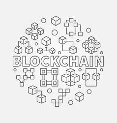 blockchain round in thin line vector image