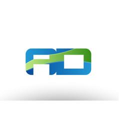 blue green ad a d alphabet letter logo vector image