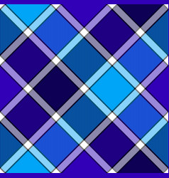 blue winter color diagonal check plaid seamless vector image