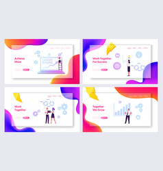 Capacity building website landing page set vector