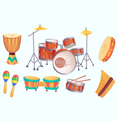 cartoon drums musical drum instruments music vector image
