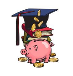 Cartoon piggy bank with graduation hat money vector