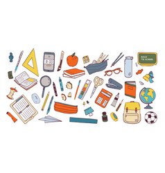 collection of school supplies or stationery vector image