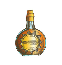 Color circle whisky bottle with stylish cork cap vector