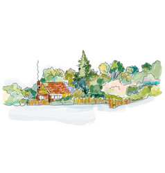 countryside house banner with trees - design vector image
