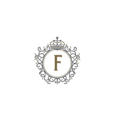 Crown leaf logo initial f vector