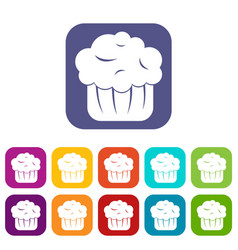 Cupcake icons set vector