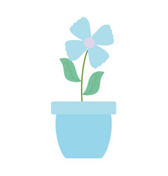 Cute flower and leafs plant in ceramic pot vector