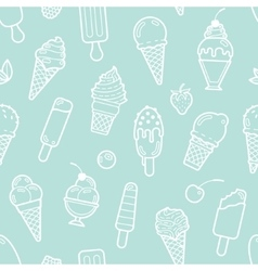 cute mint seamless pattern with ice creams vector image