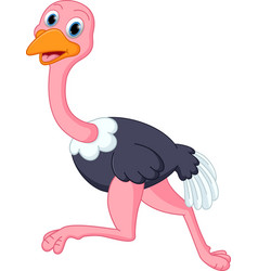 cute ostrich cartoon running vector image