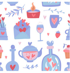 cute seamless pattern for valentine s day vector image