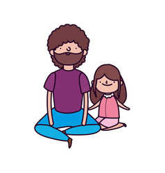 Dad and daughter sitting characters vector