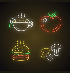 delicious lunch neon light icons set tasty vector image