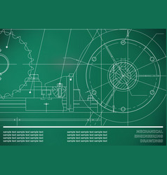 Drawing mechanical drawings on a light green vector