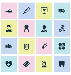 Drug icons set with healer diagnosis first-aid vector
