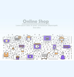e-commerce business advertising flat line vector image