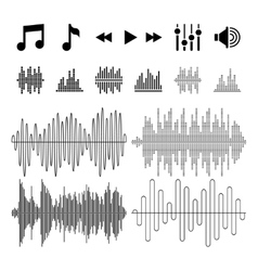 Equalizer music sound waves icons vector