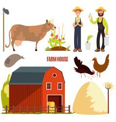 Farming farm cartoon character elements vector