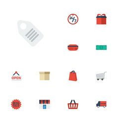 Flat icons cash pouch payment and other vector