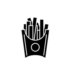 french fries black icon sign on isolated vector image