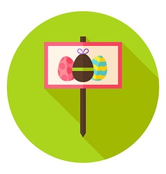 Garden Sign with Easter Eggs Circle Icon vector image