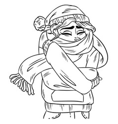 Girl in warm cozy scarf hand-drawn outline vector