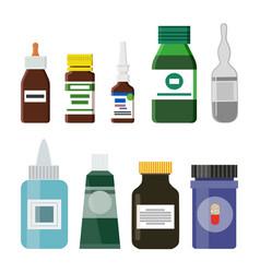 glass plastic medicine bottles vector image