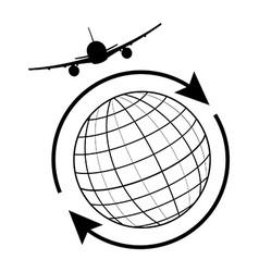 Globe aeroplane vector image